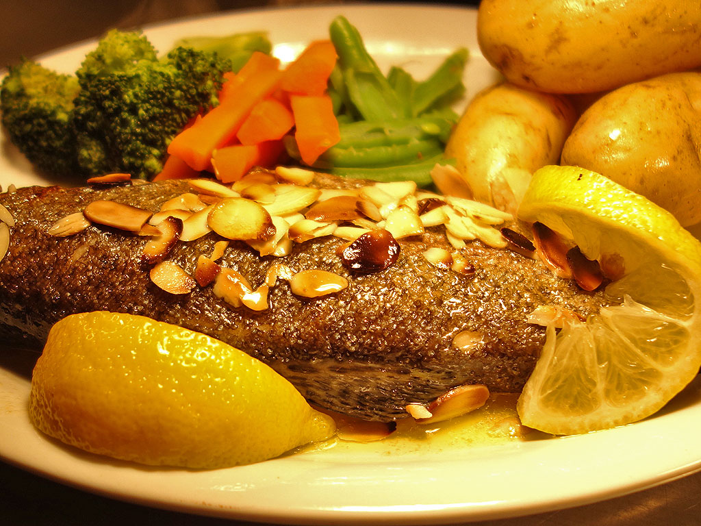 Whole local trout in a lemon and butter sauce